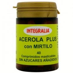 ACEROLA PLUS AMB MIRTIL INTEGRALIA 40 comprimits mastegables